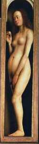 The image of 15th century beauty: Eve, from The Adoration of the Mystic Lamb, 1432.