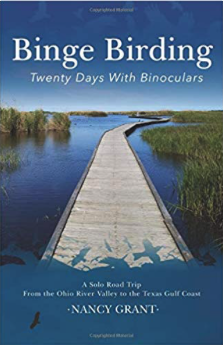 Binge Birding cover--long wooden deck extends over marsh in bird sanctuary