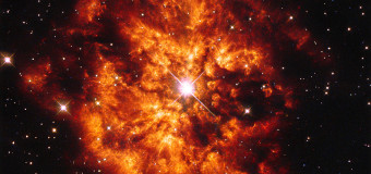Here we see the spectacular cosmic pairing of the star Hen 2-427 — more commonly known as WR 124 — and the nebula M1-67 which surrounds it. Both objects, captured here by the NASA/ESA Hubble Space Telescope are found in the constellation of Sagittarius and lie 15 000 light-years away. The star Hen 2-427 shines brightly at the very centre of this explosive image and around the hot clumps of gas are ejected into space at over 150 000 kilometres per hour. Hen 2-427 is a Wolf–Rayet star, named after the astronomers Charles Wolf and Georges Rayet. Wolf–Rayet are super-hot stars characterised by a fierce ejection of mass. The nebula M1-67 is estimated to be no more than 10 000 years old — just a baby in astronomical terms — but what a beautiful and magnificent sight it makes. A version of this image was released in 1998, but has now been re-reduced with the latest software.